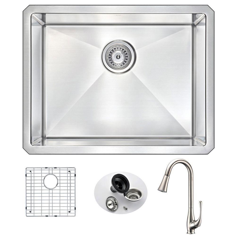 VANGUARD Undermount Stainless Steel 23 in. Single Bowl Kitchen Sink and