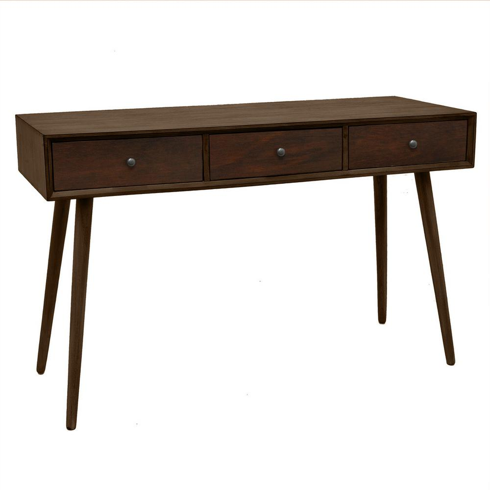 Three hands 2975 in brown cherry wood console table 11490 the brown cherry wood console table geotapseo Choice Image