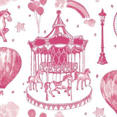 Kids Carnival Toile Bubble Gum Self-Adhesive Removable Borders and Stripes