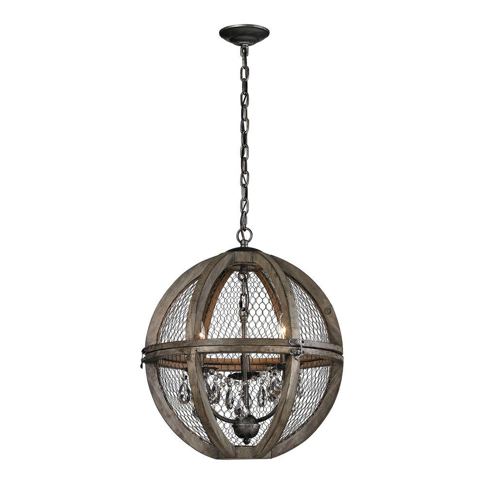 Titan lighting 3 light small renaissance invention wood and wire chandelier