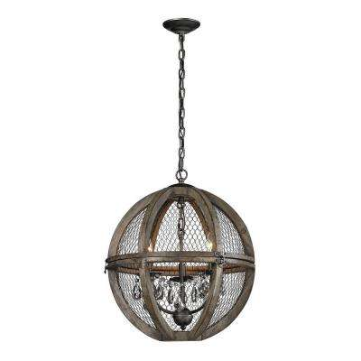 3-Light Small Renaissance Invention Wood and Wire Chandelier