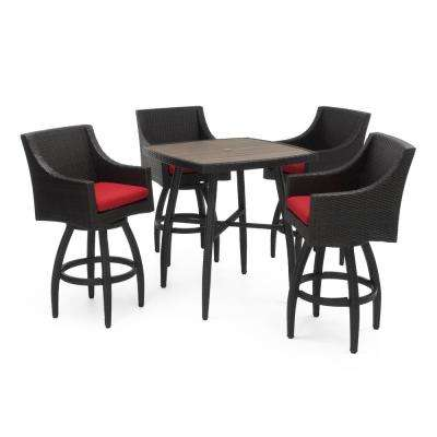 Deco 5-Piece Wicker Square Outdoor Bar Height Dining Set with Sunbrella Sunset Red Cushions