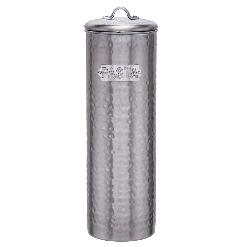 12 in. Brushed Nickel Hammered Pasta Canister