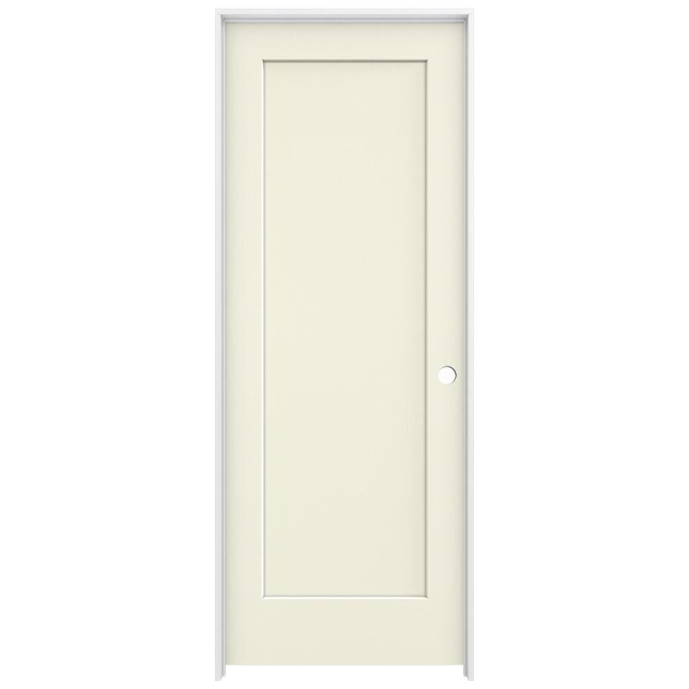Jeld Wen 30 In X 80 In Madison Vanilla Painted Left Hand Smooth Solid Core Molded Composite