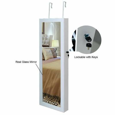 Wall Mount Lockable Mirrored Jewelry Box Cabinet Organizer Armoire with Light Christmas