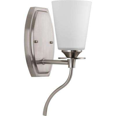 Cantata Collection 1-Light Brushed Nickel Bath Sconce with Etched White Glass Shade