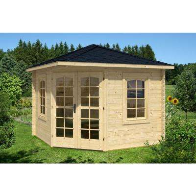 Victoria B 28 mm 118 in. x 118 in. x 111 in. Log Garden House Hobby Recreation Office Storage Building