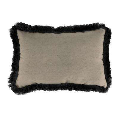 Sunbrella 19 in. x 12 in. Frequency Sand Lumbar Outdoor Throw Pillow with Black Fringe