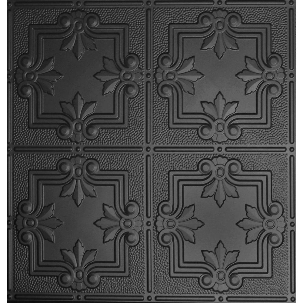 Global specialty products dimensions 2 ft x 2 ft matte black tin matte black lay in tin ceiling dailygadgetfo Images