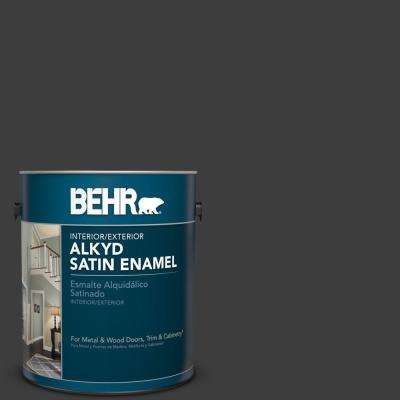 1 gal. #1350 Ultra Pure Black Satin Enamel Alkyd Interior/Exterior Paint
