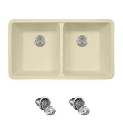 All-in-One Undermount Granite Composite 32.5 in. 0-Hole Double Bowl Kitchen Sink in Beige