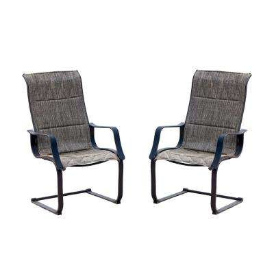 Spring Padded Sling Outdoor Dining Chair in Gray (2-Pack)