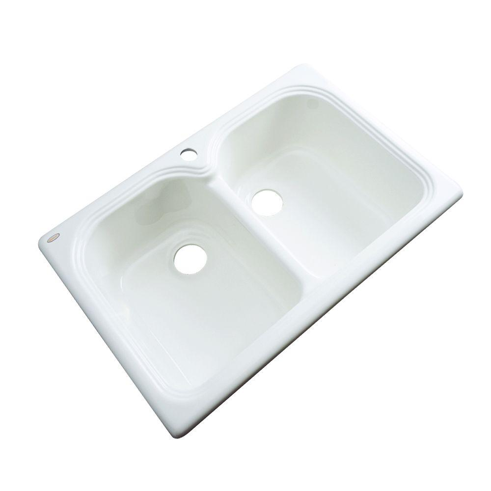 Thermocast Hartford Drop-In Acrylic 33 in. 1-Hole Double Basin Kitchen Sink in White