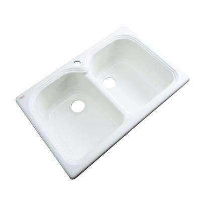 Hartford Drop-In Acrylic 33 in. 1-Hole Double Bowl Kitchen Sink in White