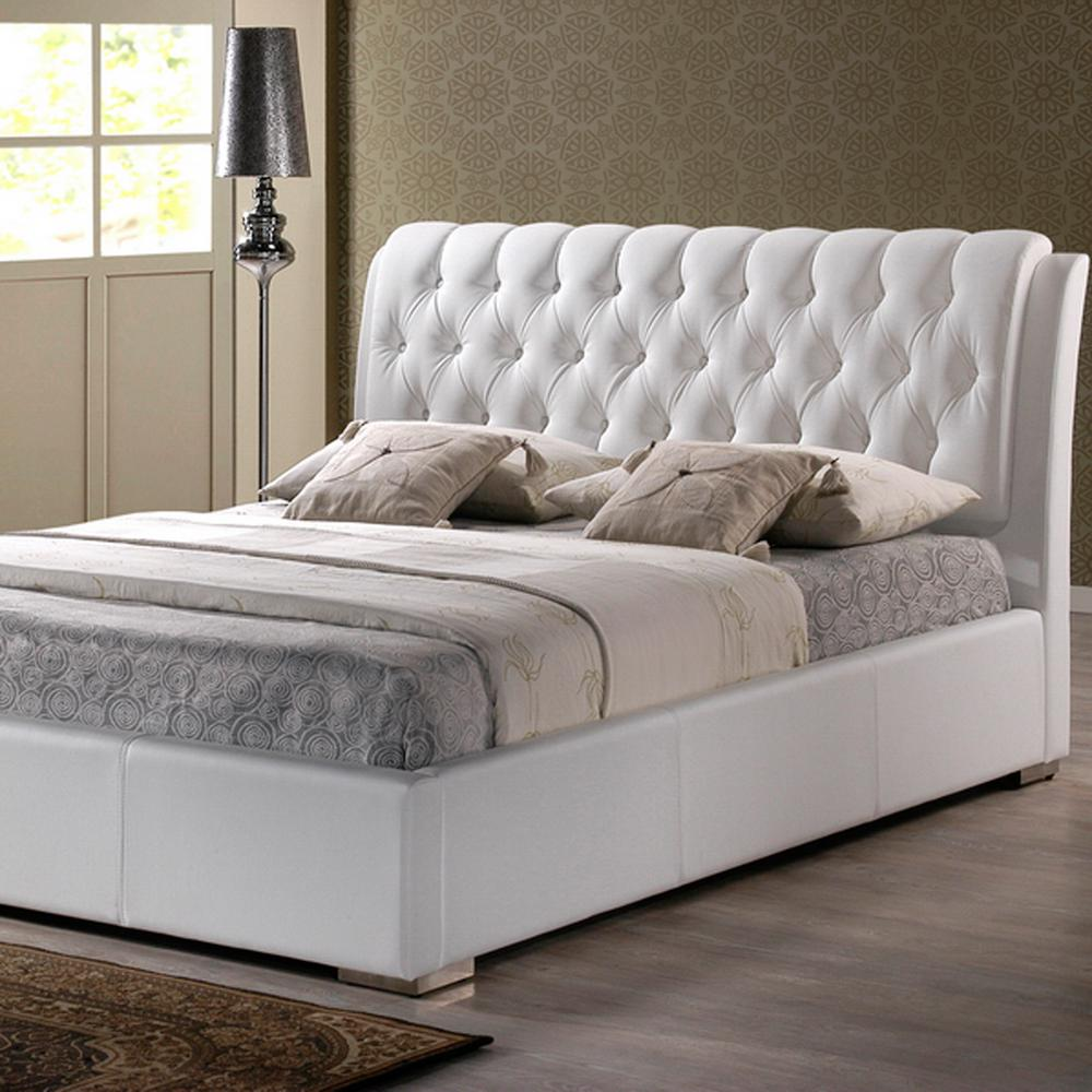 Baxton Studio Bianca Transitional White Faux Leather Upholstered Queen Size Bed 28862 4042 Hd The Home Depot