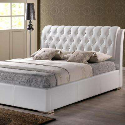 Bianca Transitional White Faux Leather Upholstered King Size Bed