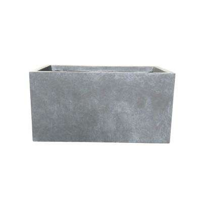 Small 23 in. L Slate Gray Lightweight Concrete Modern Low Outdoor Planter