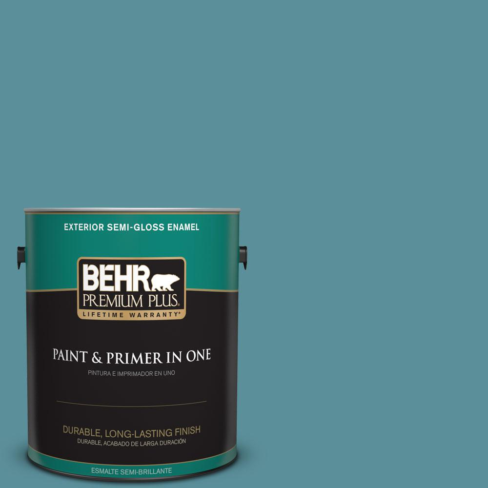 BEHR Premium Plus 1 gal. #520F-5 Harbor Semi-Gloss Enamel Exterior Paint and Primer in One
