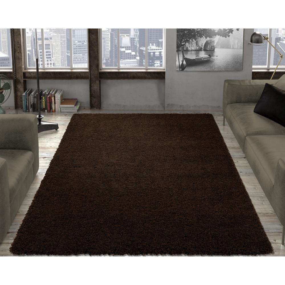 Ottomanson Contemporary Solid Brown 8 Ft X 10 Ft Shag