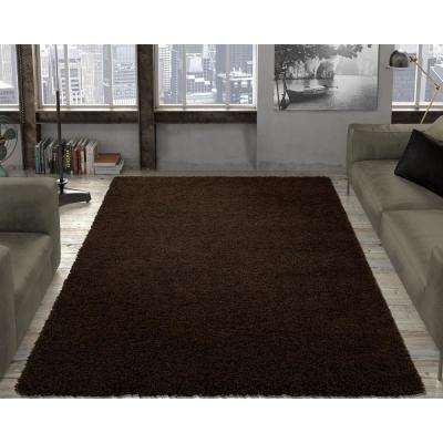 Contemporary Solid Brown 7 ft. 10 in. x 9 ft. 10 in. Shag Area Rug