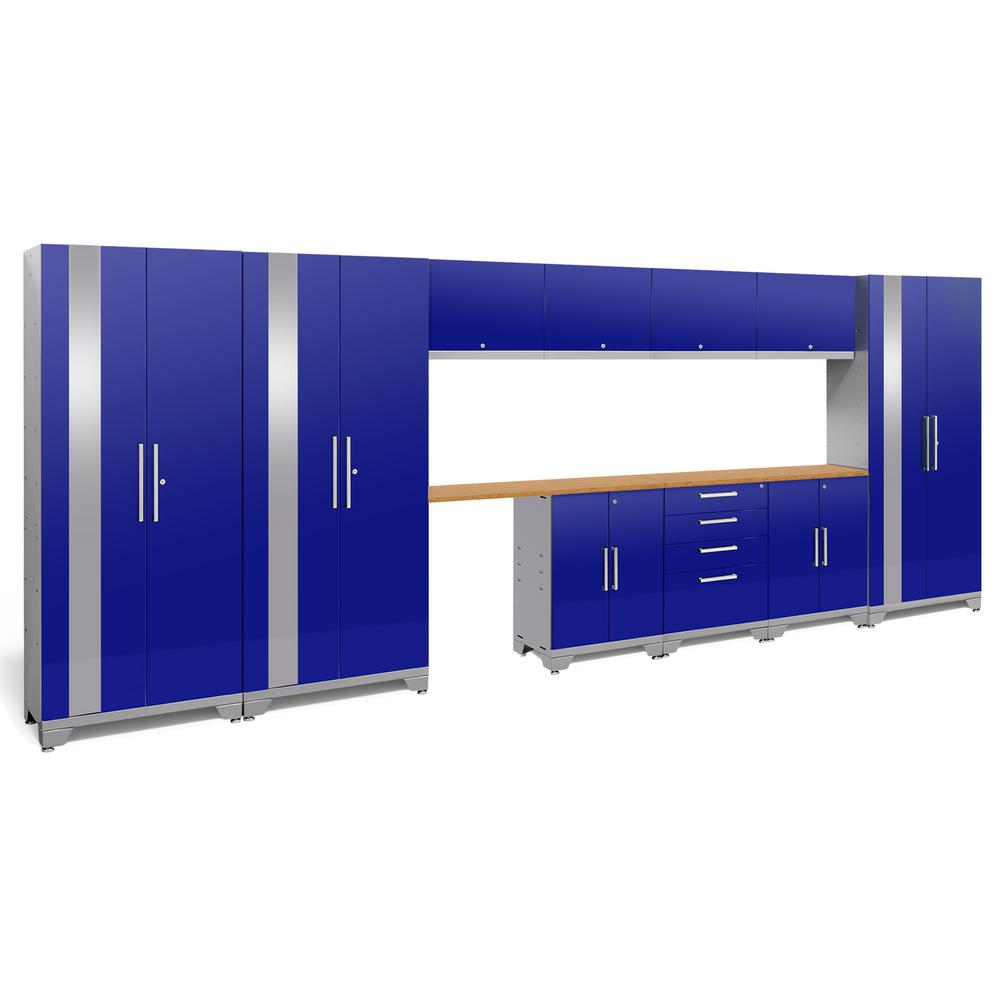 NewAge Products Performance 2.0 72 In. H X 186 In. W X 18 In. D Garage  Cabinet Set In Blue (12 Piece) 53804   The Home Depot