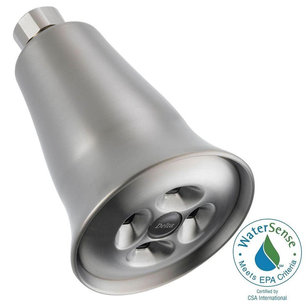 1-Spray 3.25 in. Fixed Shower Head with H2Okinetic in Stainless
