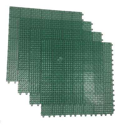 Green Regenerated 22 in. x 22 in. Polypropylene Interlocking Floor Mat System (Set of 4 Tiles)