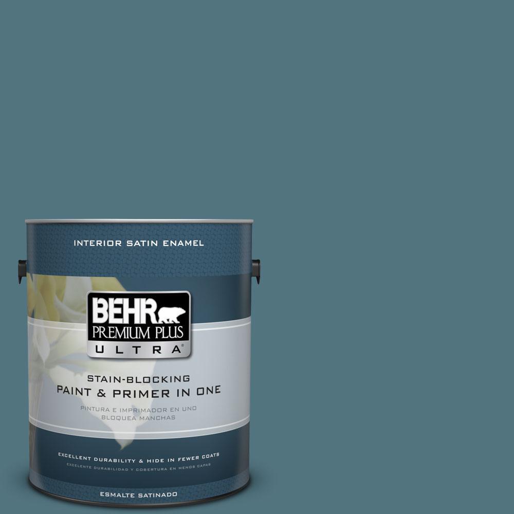 1 gal. #ECC-54-2 Country Lake Satin Enamel Interior Paint and Primer