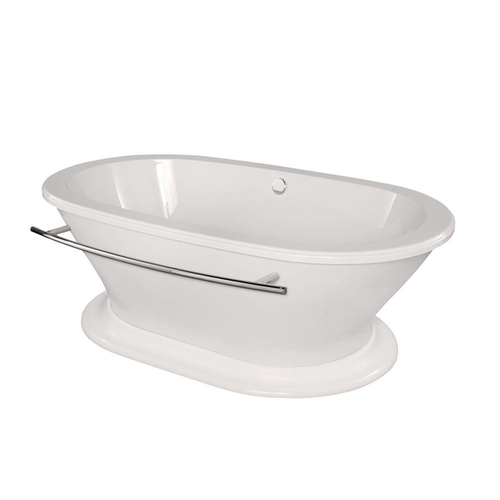 Columbia 5.8 ft. Center Drain Freestanding Bathtub in White