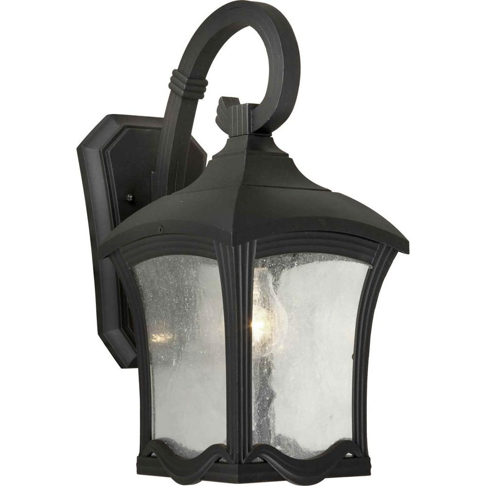 Talista 1-Light Outdoor Black Lantern with Clear Seeded Glass Panels