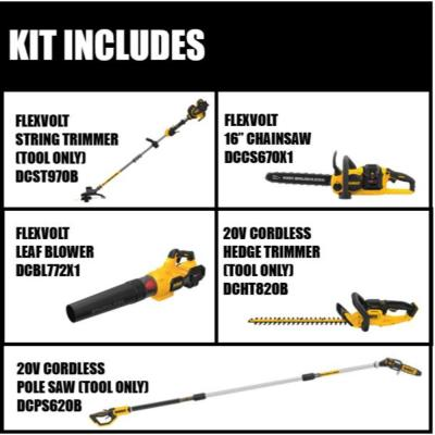 15 in. 60V Cordless String Grass Trimmer (Tool Only) with 16 in. Chainsaw, Blower, 8 in. Pole Saw & Hedge Trimmer
