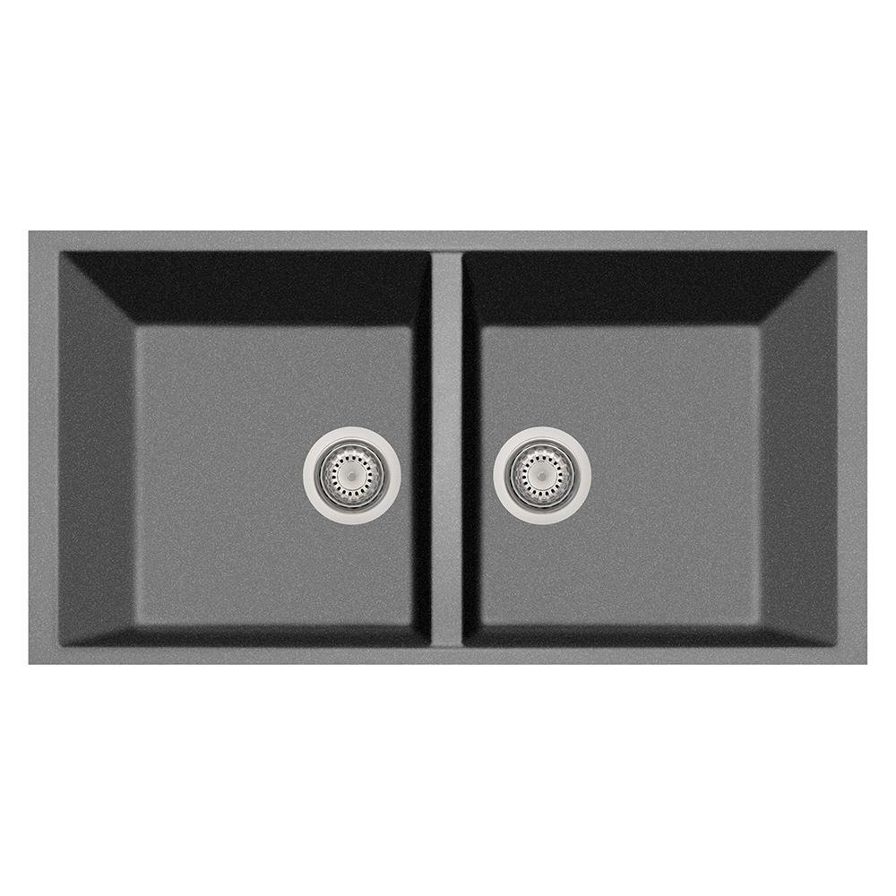 Elegance Drop-in Granite Composite 22 in. 1-Hole Double Bowl Kitchen Sink