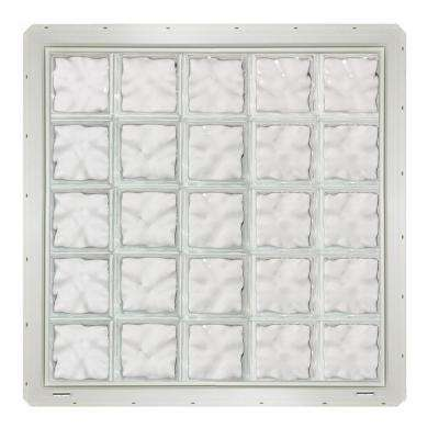 39.25 in. x 39.25 in. x 3.25 in. Wave Pattern Vinyl Glass Block Window with White Nailing Fin