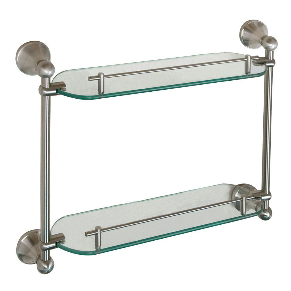 Barclay Products Kendall 19-1/4 in. W Double Shelf in Glass and Brushed Nickel