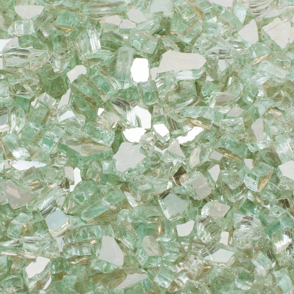 1/4 in. 25 lb. Aqua Reflective Tempered Fire Glass
