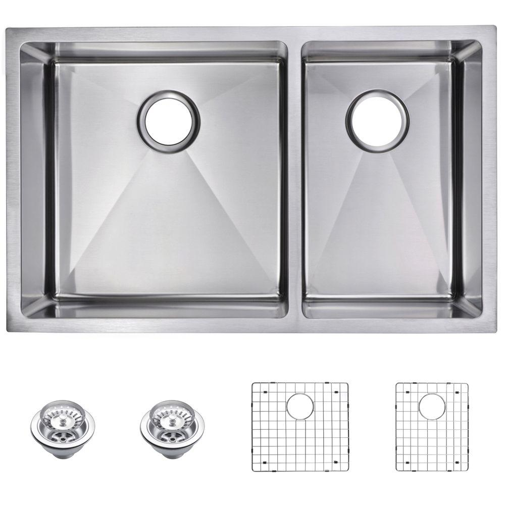Water Creation Undermount Small 30 in. 0-Hole Double Bowl Kitchen ...