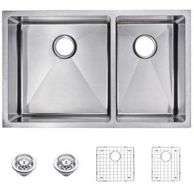 Undermount Small Radius Stainless Steel 32 in. 0-Hole Double Bowl Kitchen Sink with Strainer and Grid in Satin Finish