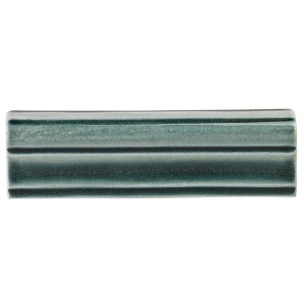 Delphi Deep Emerald 2 in. x 6 in. Polished Ceramic Chair Rail Tile