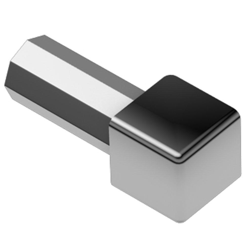 Schluter Quadec Polished Chrome Anodized Aluminum 3/8 in. x 1 in. Metal Inside/Outside Corner