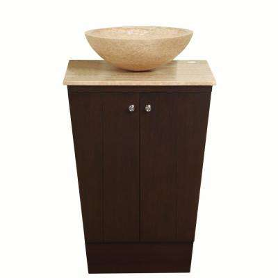 22 in. W x 20 in. D Vanity in Dark Walnut with Stone Vanity Top in Travertine with Vessel Stone Basin