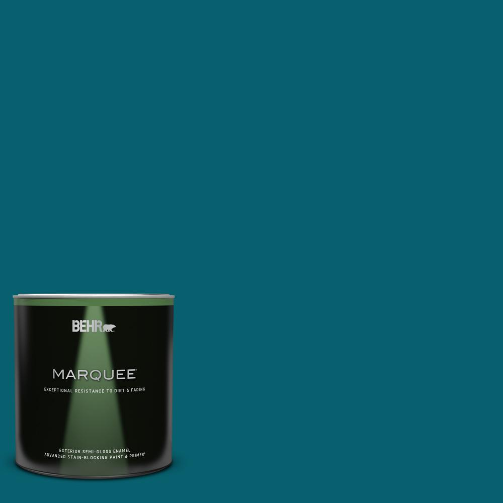 Behr Marquee 1 Qt T16 04 Galapagos Semi Gloss Enamel Exterior Paint And Primer In One 545304 The Home Depot