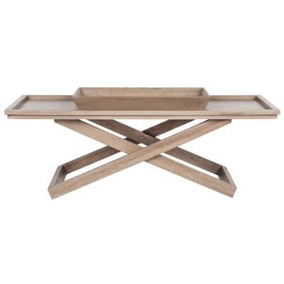 Arleana 44 in. Light Oak Large Rectangle Wood Coffee Table with Tray