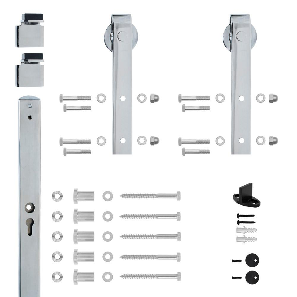 Hook Strap Chrome Rolling Barn Door Hardware Kit with 2-3/4 in.