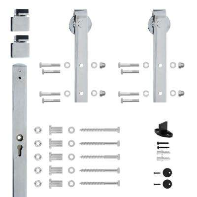 Hook Strap Chrome Rolling Barn Door Hardware Kit with 2-3/4 in. Wheel