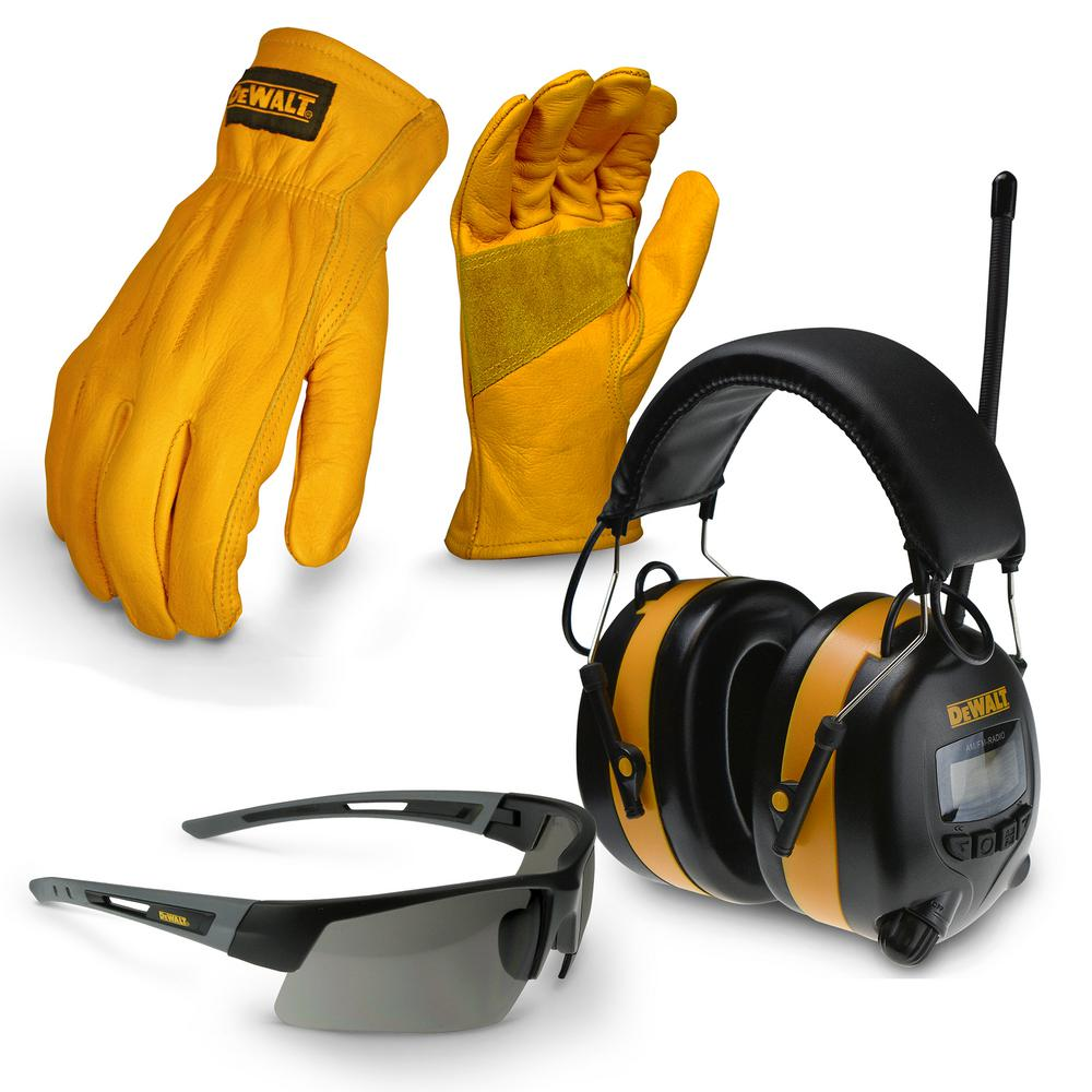 Large Apparel Work Kit with Earmuff, Leather Gloves, and Safety Glass