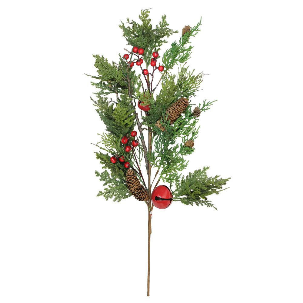 Northlight 28 in. Christmas Bells Berries and Pine Cone Spray