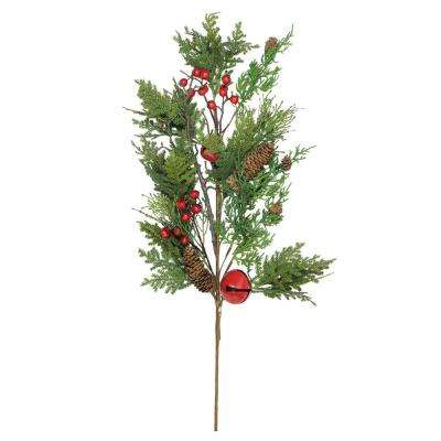 28 in. Christmas Bells Berries and Pine Cone Spray
