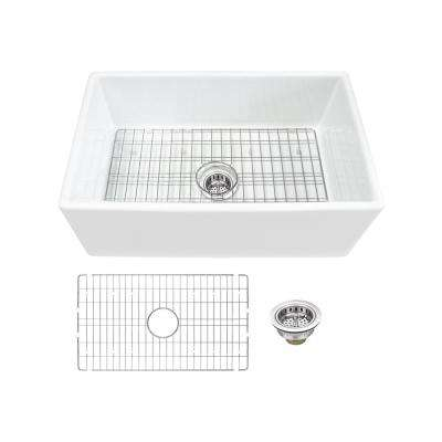 Farmhouse Apron Front Fireclay 30 in. Single Bowl Kitchen Sink in White with Grid and Strainer