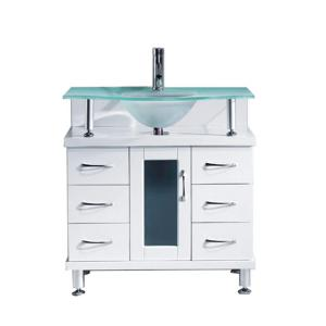 Virtu USA Vincente 31.89 inch W x 21.65 inch D x 33.54 inch H White Vanity With Glass... by Virtu USA