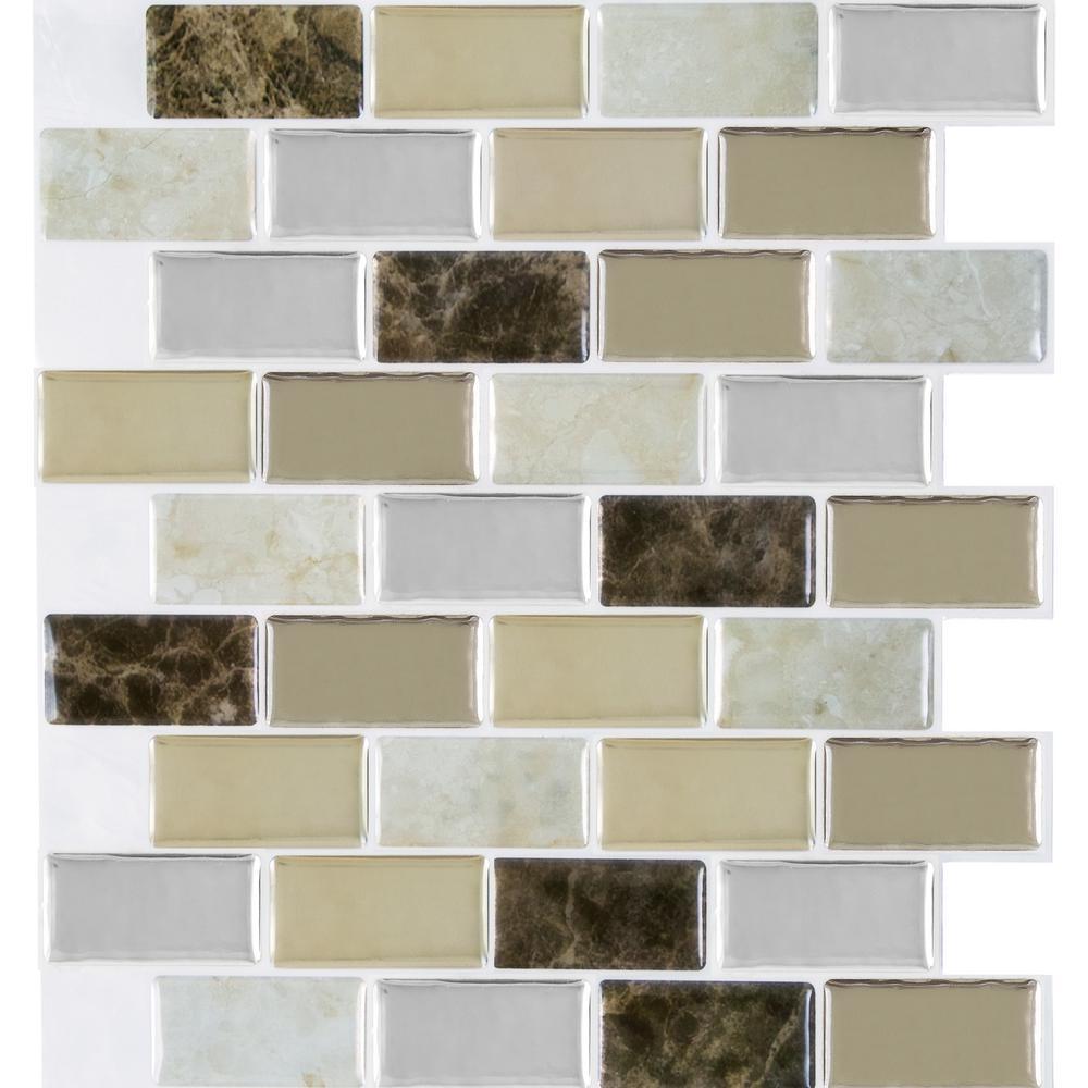Granite 9.125 in. x 9.125 in. Bronze Magic Gel Decorative Mosaic Wall Tile